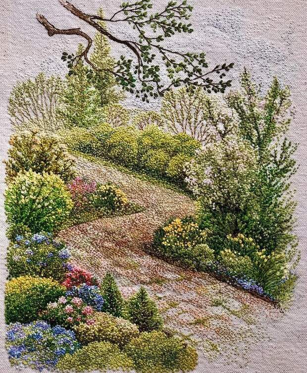 Вышитые пейзажи от Катрин Вейтс