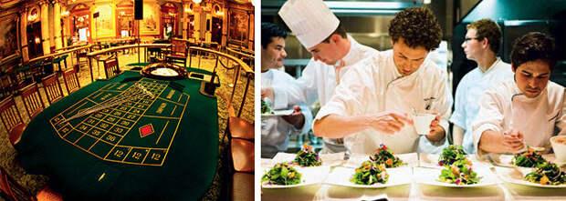 Слева: Казино Монте-Карло ждет гостей с деньгами  Справа: Шеф-повар ресторана Monte-Carlo Bay Hotel Стефано Байокко готовит «простой салат» из 120 различных листочков и цветов