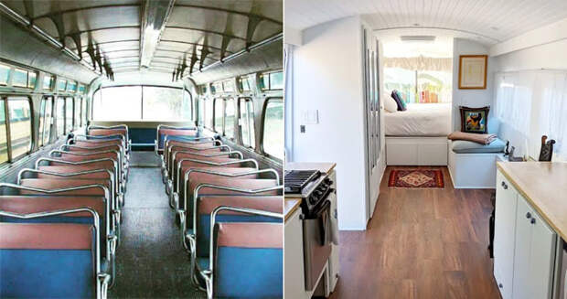 Женщине не хватало на квартиру и она нашла списанный автобус. За 6 месяцев он превратился в дом мечты