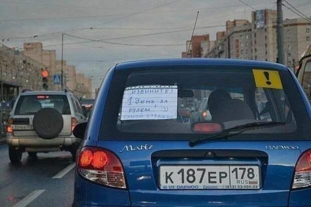 Внимание авто, знак, начинающий, пожилой, сёсинся