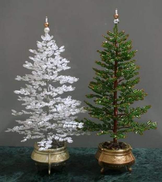 зелёная и белоснежная ёлочки деревья из бисера своими руками