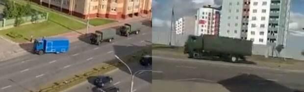 В Минске появились колонны военной техники