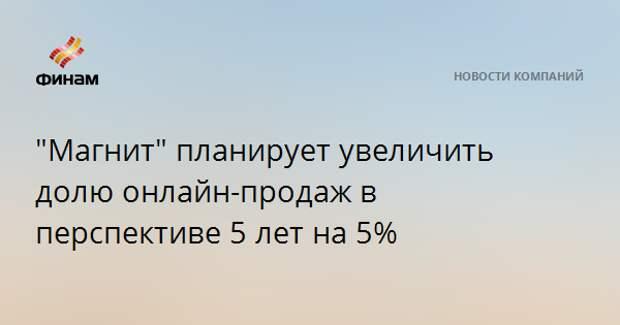 """""""Магнит"""" планирует увеличить долю онлайн-продаж в перспективе 5 лет на 5%"""