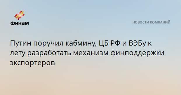 Путин поручил кабмину, ЦБ РФ и ВЭБу к лету разработать механизм финподдержки экспортеров