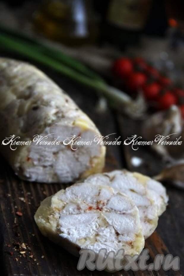 Домашняя куриная колбаса в пищевой плёнке