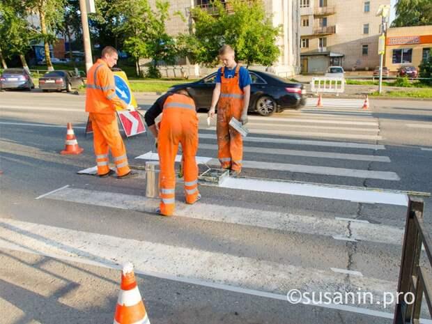 В Ижевске начали наносить дорожную разметку