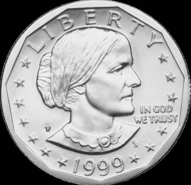Монета с изображением Сьюзен Энтони.