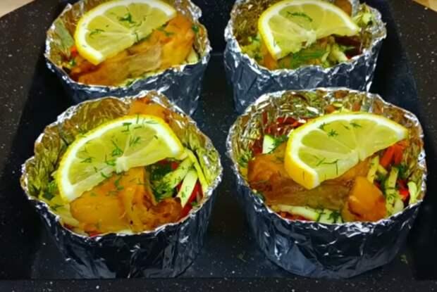 Порционное блюдо к ужину с рыбкой