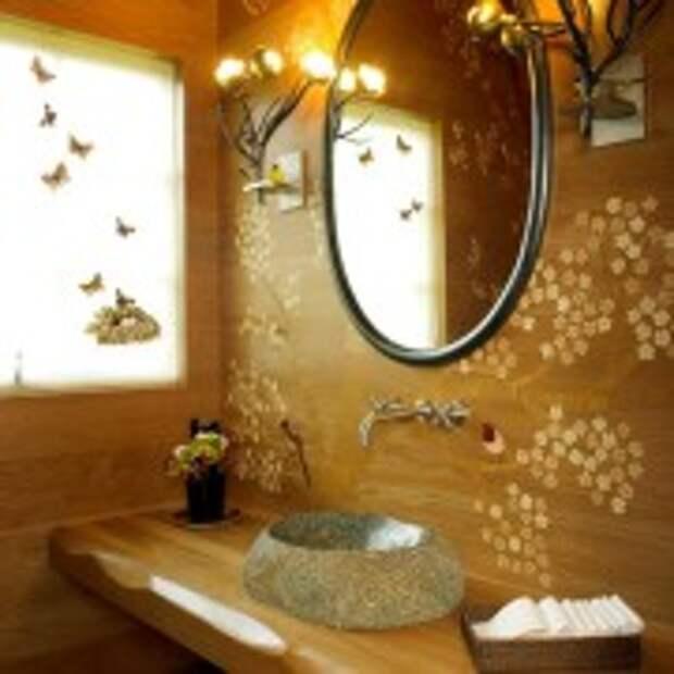 Орнамент на стене ванной