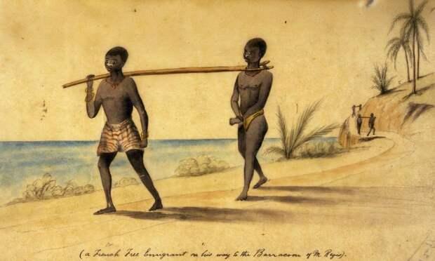 Процесс конвоирования рабов (Западная Африка, начало 1858 год)