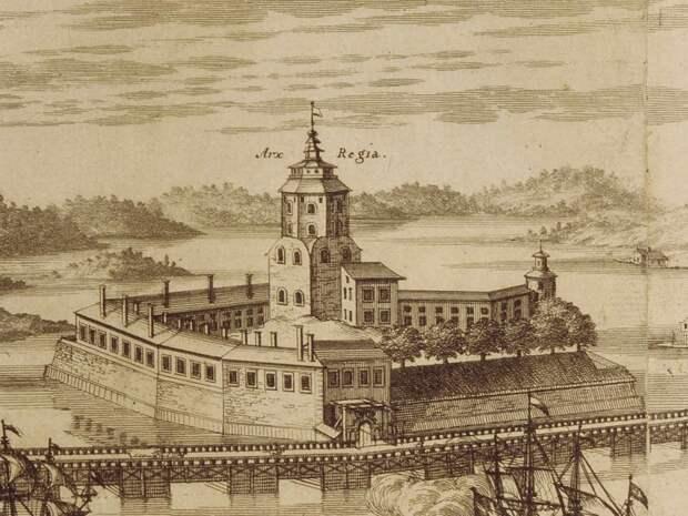 Выборг на фрагменте гравюры 1709 года. <br>
