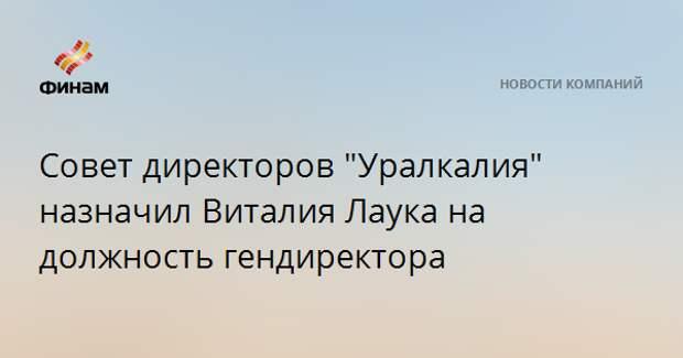 """Совет директоров """"Уралкалия"""" назначил Виталия Лаука на должность гендиректора"""