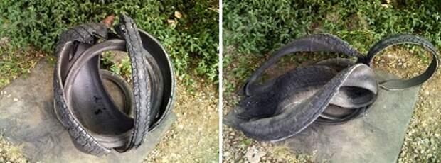 Начните делать поделку лебедь с подготовки шины. В зависимости от размера покрышки, понадобятся определенные инструменты. Если шина без металлокорда, то для ее разрезания достаточно будет острого ножа и воды.