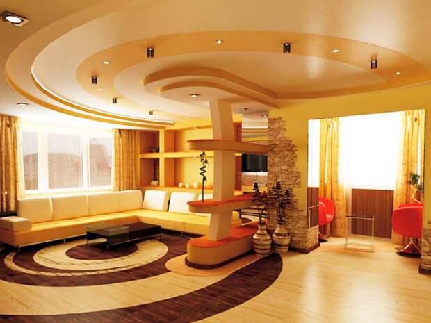 Многоярусные потолки загромождают пространство. / Фото: plus-design.com.ua