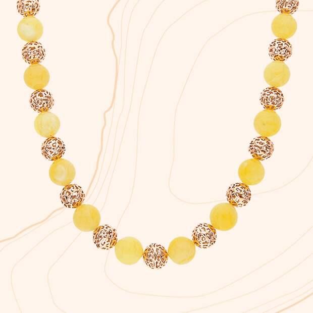 Колье «Дарвин», желтое золото, янтарь