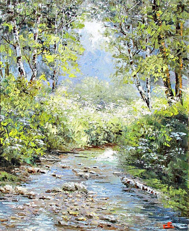 Евгений Синев.Ручей в лесу