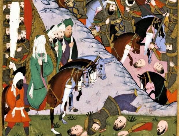 Мухаммед с воинами. Персидская миниатюра.