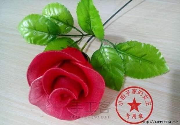 Букет красных роз из капрона