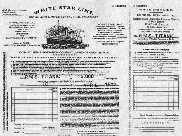 Билет на круизный лайнер Титаник Весь Мир, история, фотографии