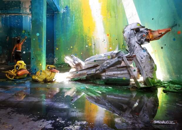 Потрясающий стрит-арт в виде животных, сделанных целиком из мусора