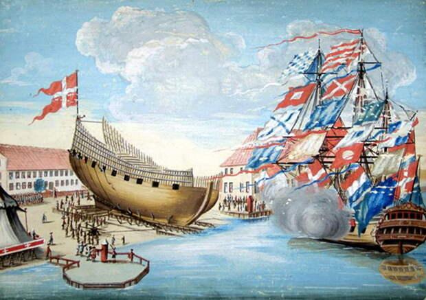 Спуск корабля на воду в Бремерхольме, 1620-е годы - Датский флот Нового времени: пороки и успехи | Warspot.ru