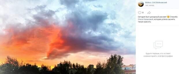 Фото дня: огненный дракон на Войковском небе