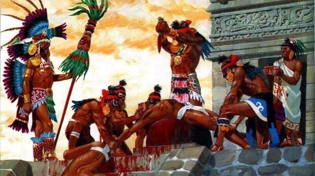 Во время строительства главного храма в Теночтитлане, Ацтеки, в течение 4 дней принесли в жертву богам 84000 человек