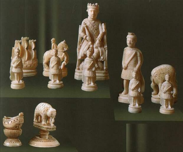 Шахматы. Моржовая кость. Объемная резьба, гравировка, окраска. ГИМ