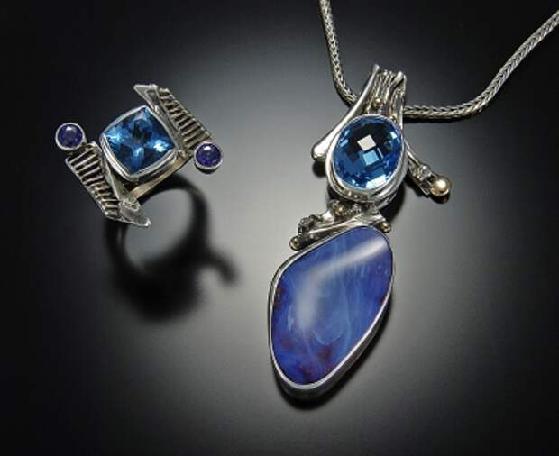 jewelry image of Blue Topaz, Boulder Opal, Sterling silver