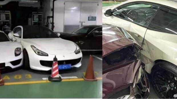 _Феррари_авария-1024x576 В Шанхае женщина в пылу спора с мужем разбила редкие Porsche и Ferrari