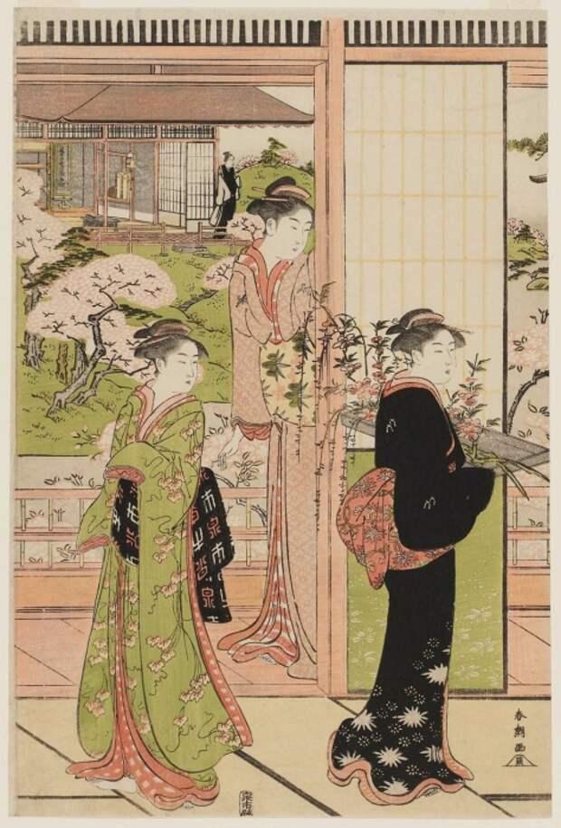 Версия сцены у реки Йосино в спектакле «Имосеяма», 1790 год. Автор: Кацукава Сюнсё.