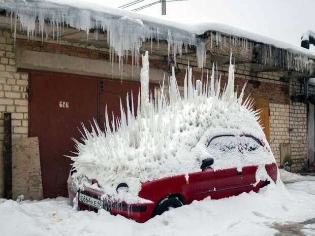 Новый уровень подснежников - ледяные ежи Рукожоп, автомобили, автосервис, жигули, прикол, тюнинг, юмор