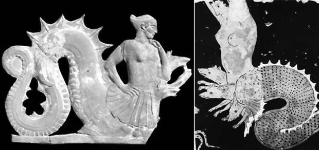 Изображения «Сциллы»: Статуэтка с о. Милос; / Краснофигурная ваза из Южной Италии 390/380 гг. до н.э.