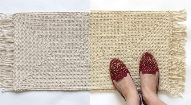 как быстро связать коврик крючком