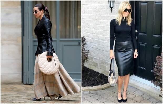 Кожаная юбка-карандаш более стильная и универсальная