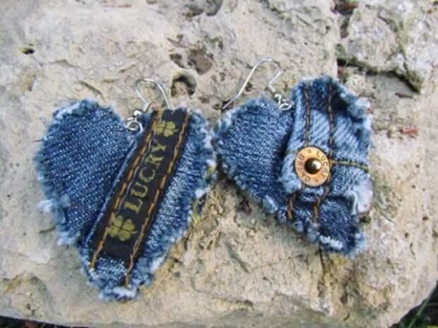 Серьги из джинсы