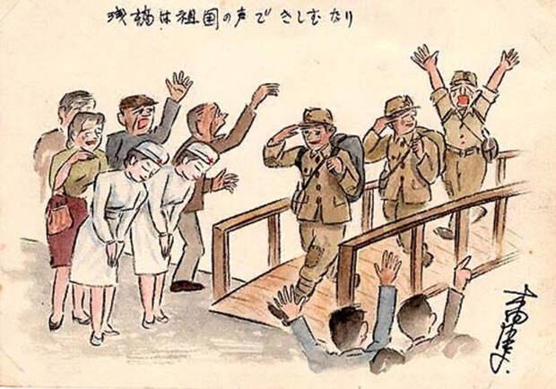 Ступил на родную землю и услышал, как заскрипели доски причала, услышал звук собственных шагов. Встречающие, все как один, тоже кричали «ура!», благодарили, пожимали нам руки. В толпе сверкали белыми одеждами медсестры Японского Красного Креста.