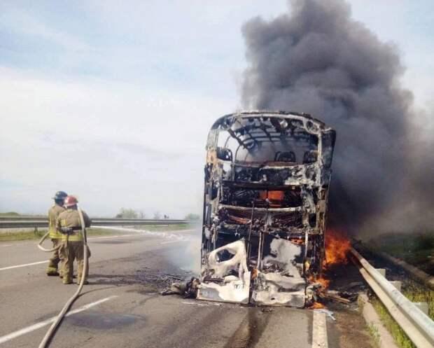 В Одесской области сгорел пассажирский автобус