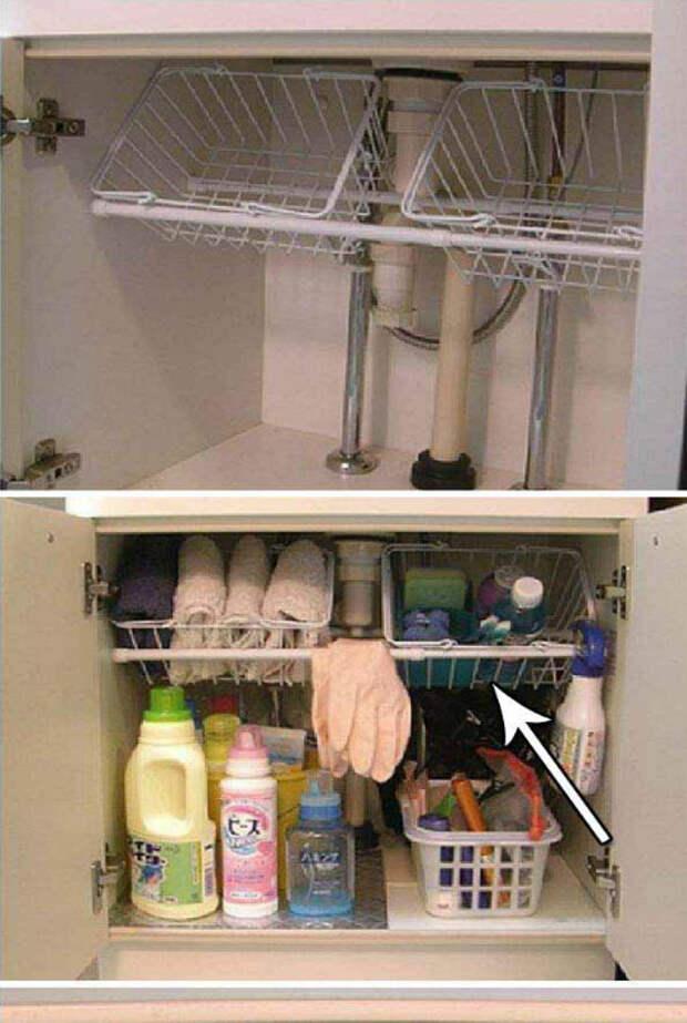 Рациональное использование пространства под раковиной.