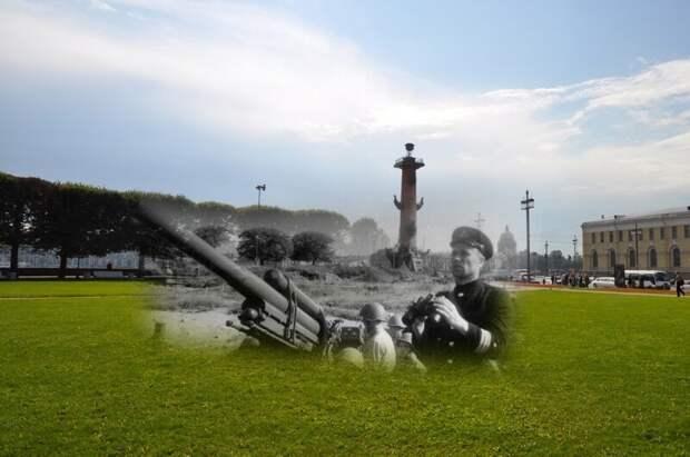 Ленинград 1942-2011 Стрелка Васильевского острова. Зенитная батарея блокада, ленинград, победа