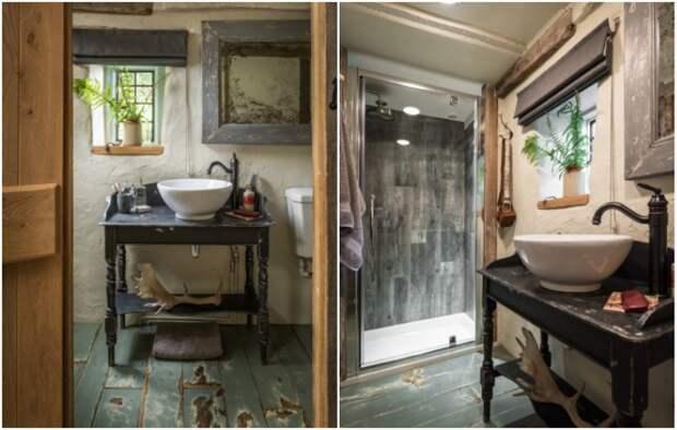 Гостей не смущает «потрепанный годами» интерьер, ведь сантехника вполне современная («Wishbone Cottage»).   Фото: uniquehomestays.com.