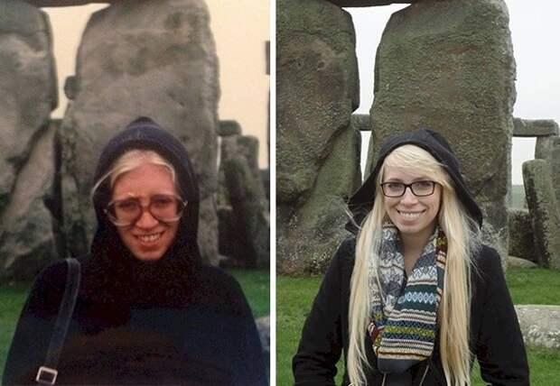 11. Мать слева (26 лет), ее дочь 34 года спустя - справа (23 года). Место действия - Стоунхендж. отцы и дети, прикол, фото