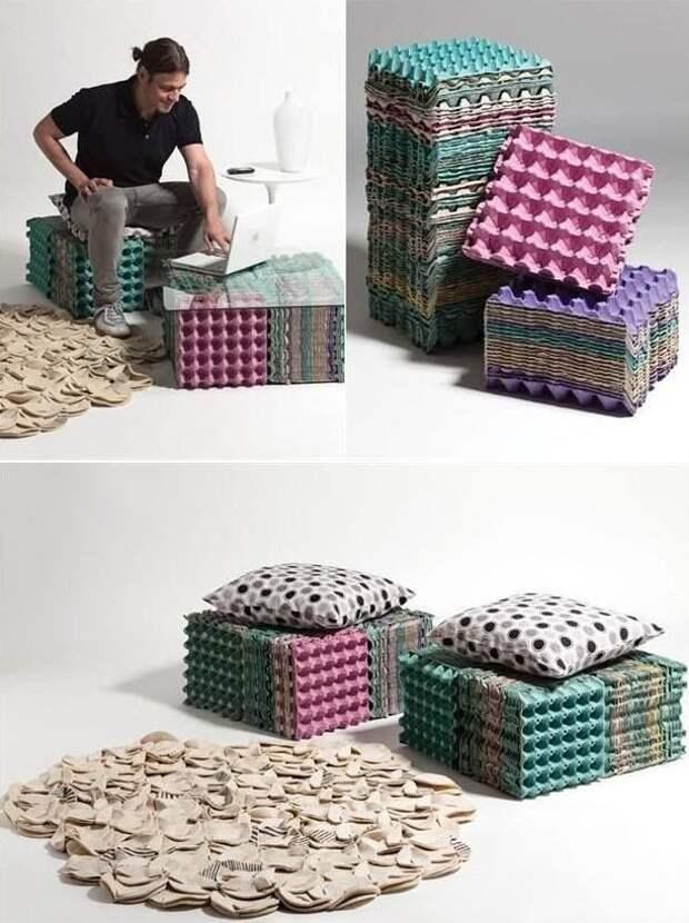 7. Из лотков получатся отличные стулья и мини-столы вторая жизнь старых вещей, интересно, контейнер из-под яиц, своими руками, сделай сам, фото