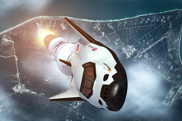 Старт ракеты с Dream Chaser — кораблем компании Sierra Nevada (в представлении художника)