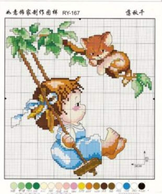 Схемы для вышивания крестом картины «Девочка с котенком»