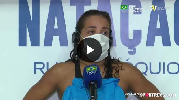 Mesmo sem índice olímpico, Aline Rodrigues se emociona e agradece apoio após vencer prova dos 200m Livre Feminino - Dia 3 do Pré-Olímpico de Natação (21/04/2021)