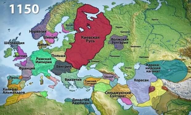 Так выглядела на карте Европы Русь до монголо-татарского нашествия