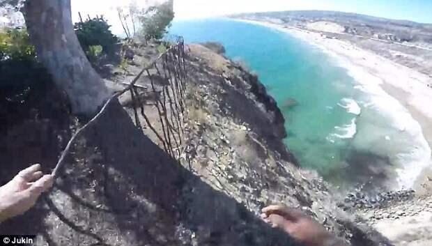 Родился в рубашке: экстремал из США снял видео, как он едва не разбился о скалы