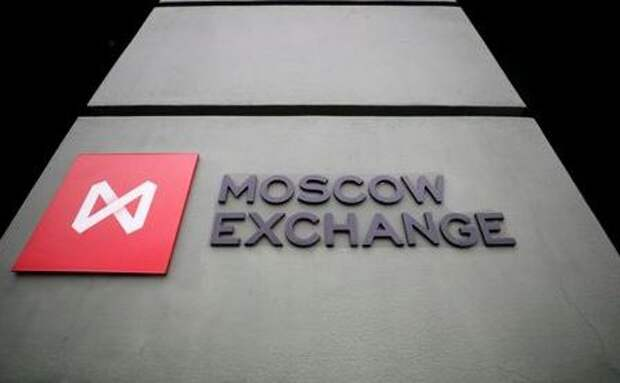 A board with the logo of the Moscow Exchange is on display in its office in Moscow, Russia March 10, 2020. REUTERS/Shamil Zhumatov