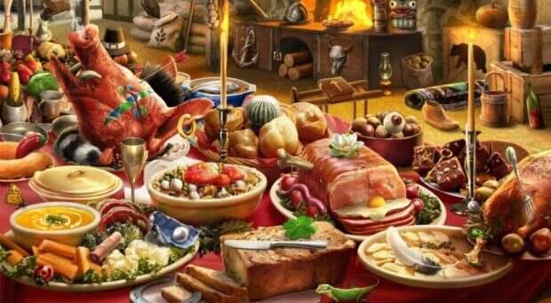 Стол с множеством блюд